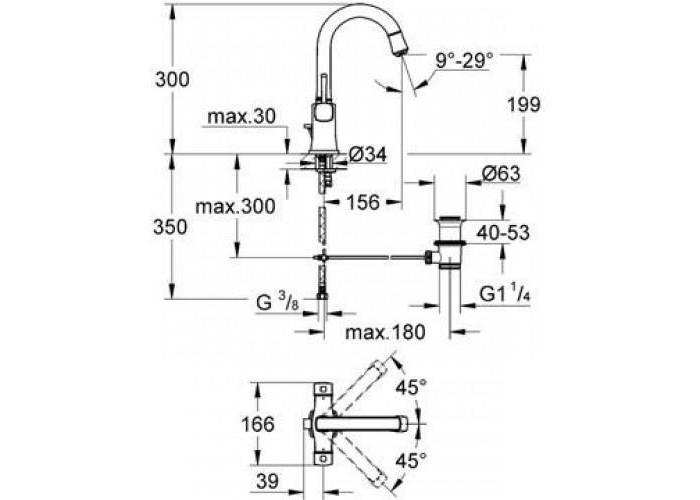 Grohe Grandera Смеситель для раковины, с двумя рукоятками L-Size (21107000)