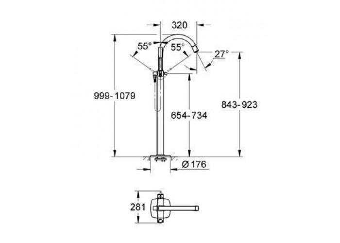 Grohe Grandera Смеситель однорычажный для ванны, напольный монтаж (23318IG0)
