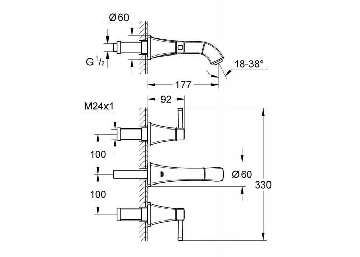 Grohe Grandera Смеситель для раковины на 3 отверстия, S-Size (20414IG0)