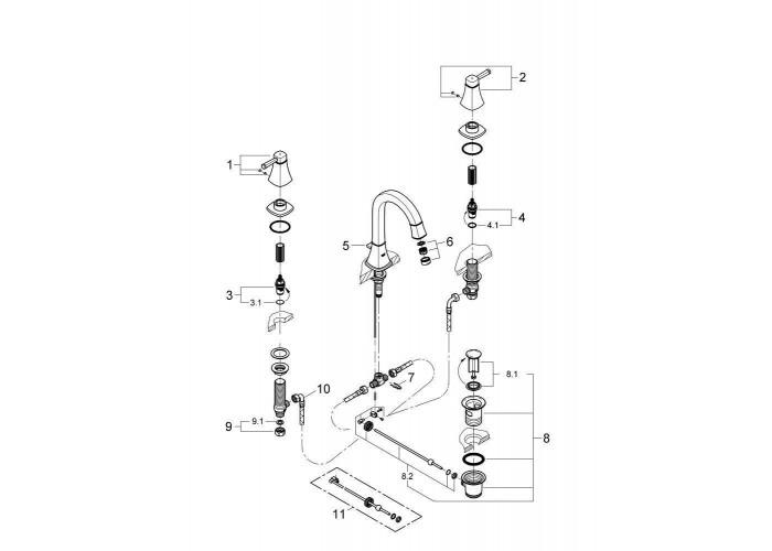 Grohe Grandera Смеситель для раковины на три отверстия M-Size (20389000)