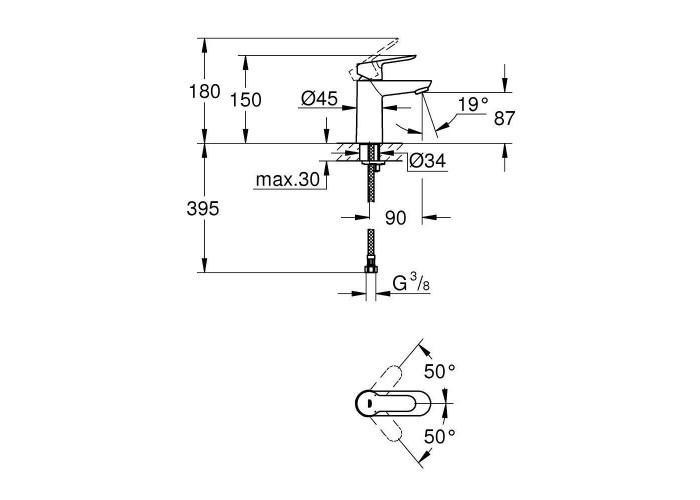 Grohe BauEdge Смеситель однорычажный для раковины S-Size (23330000)