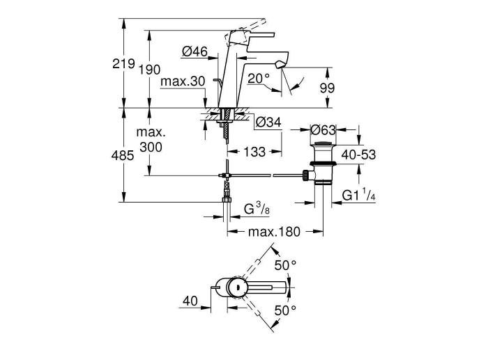 Grohe Concetto Смеситель однорычажный для раковины M-Size (23450001)