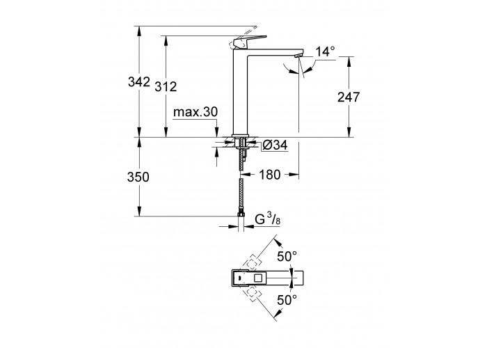 Grohe Eurocube Смеситель однорычажный для раковины XL-Size (23406000)