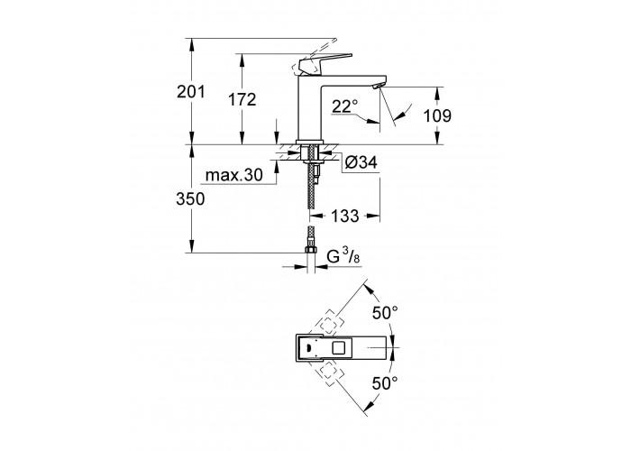 Grohe Eurocube Смеситель однорычажный для раковины M-Size (23446000)