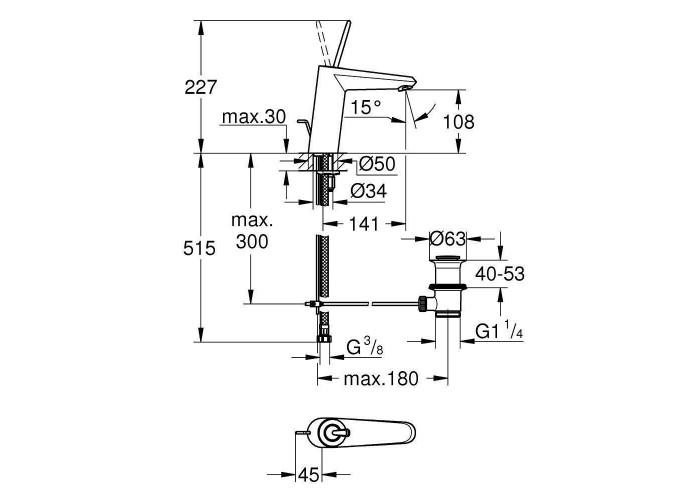 Grohe Eurodisc Joy Смеситель однорычажный для раковины M-Size (23427000)