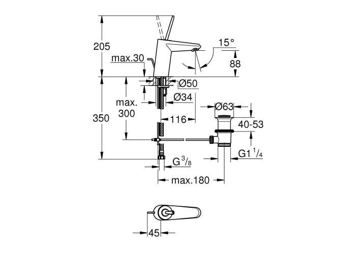 Grohe Eurodisc Joy Смеситель однорычажный для раковины S-Size (23425LS0)