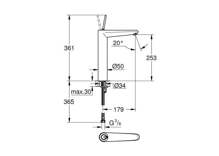 Grohe Eurodisc Joy Смеситель однорычажный для раковины XL-Size (23428LS0)