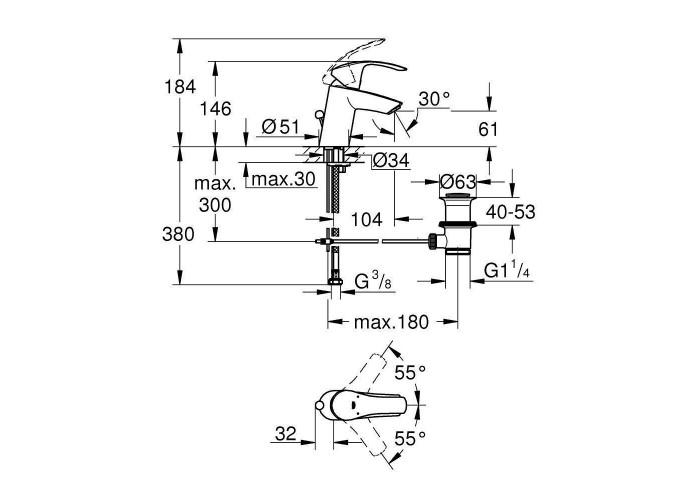 Grohe Eurosmart Смеситель однорычажный для раковины S-Size (33265002)