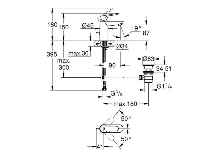 Grohe BauEdge Смеситель однорычажный для раковины S-Size (23328000)