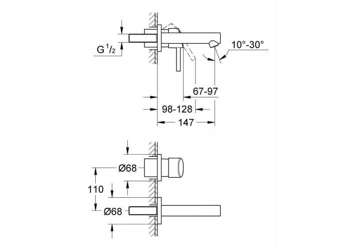 Grohe Concetto Смеситель для раковины на два отверстия S-Size (19575001)