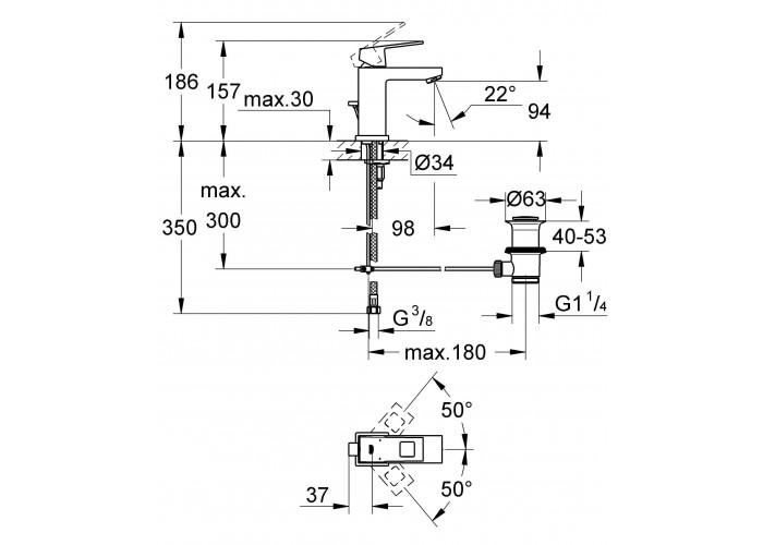 Grohe Eurocube Смеситель однорычажный для раковины S-Size (23127000)