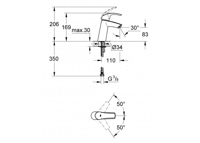 Grohe Eurosmart Смеситель однорычажный для раковины M-Size (23324001)
