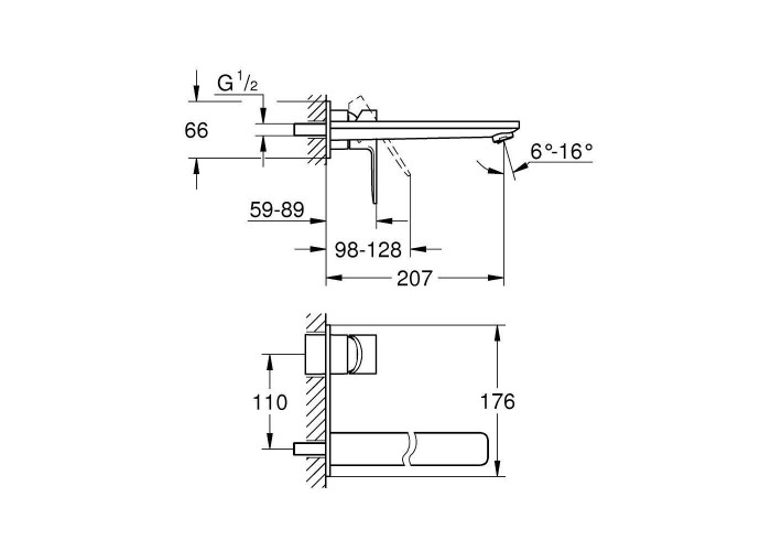 Grohe Lineare Смеситель для раковины на два отверстия L-Size (23444001)