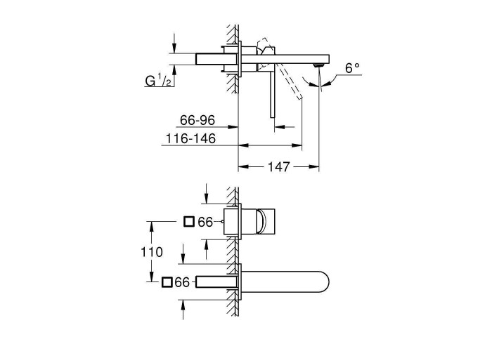 Grohe Plus Смеситель для раковины на 2 отверстия, M-Size (29303003)