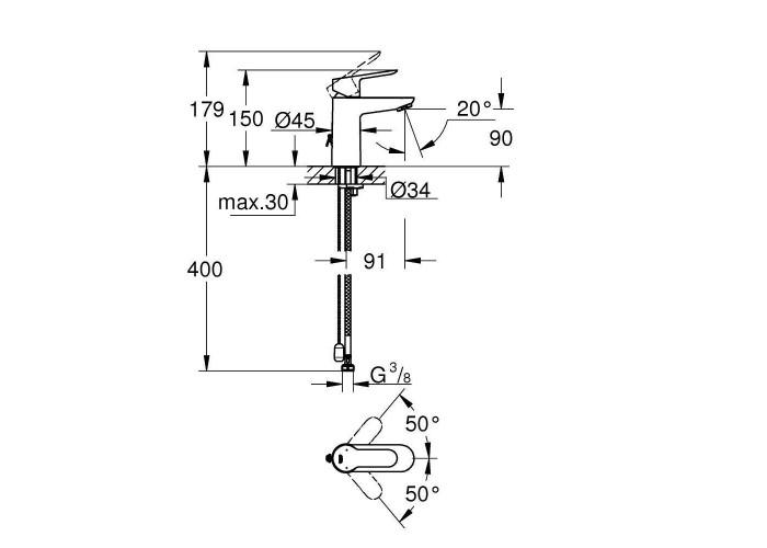 Grohe BauEdge Смеситель однорычажный для раковины S-Size (23329000)