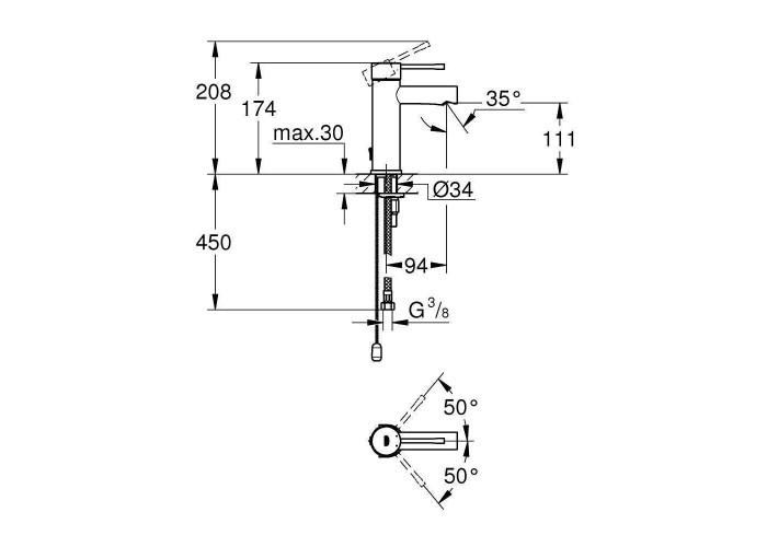 Grohe Essence Смеситель для раковины S-Size с цепочкой (32899001)