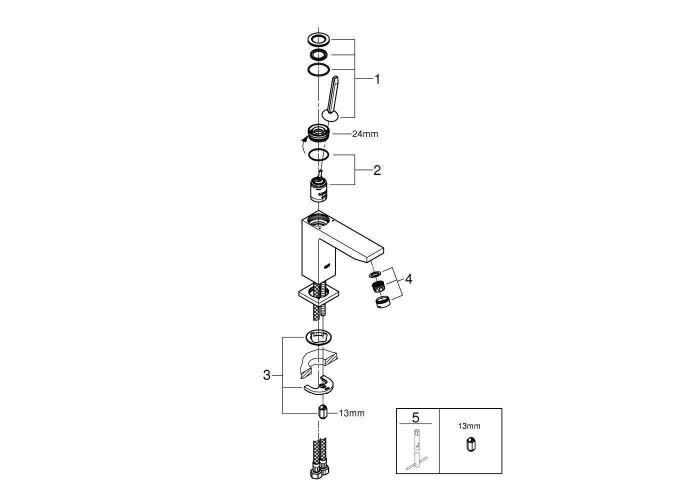 Grohe Eurocube Joy Смеситель однорычажный для раковины M-Size (23658000)