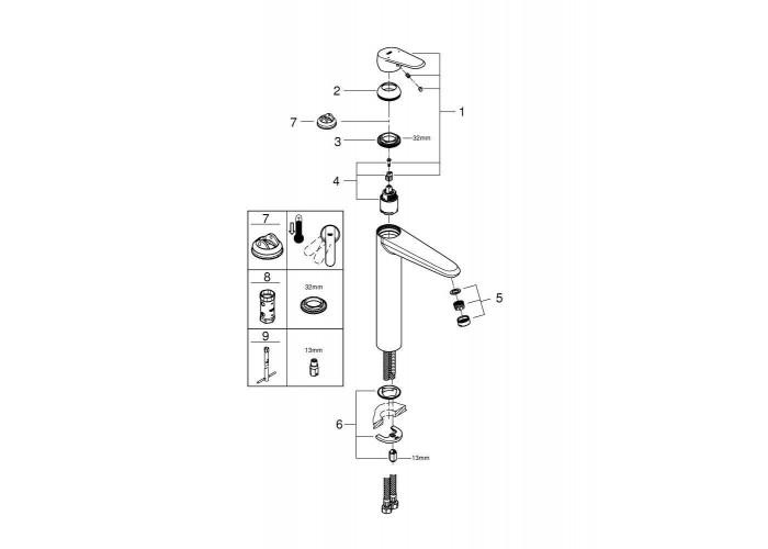 Grohe Eurodisc Cosmopolitan Смеситель однорычажный для раковины XL-Size (23432000)