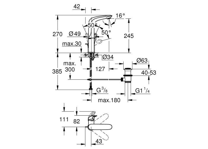 Grohe Eurostyle Смеситель однорычажный для раковины L-Size (23569003)