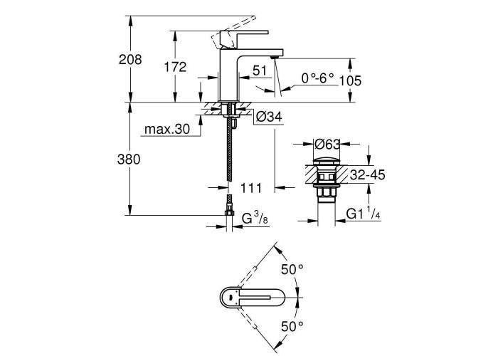 Grohe Plus Смеситель однорычажный для раковины, S-Size + нажимной донный клапан (33163003)