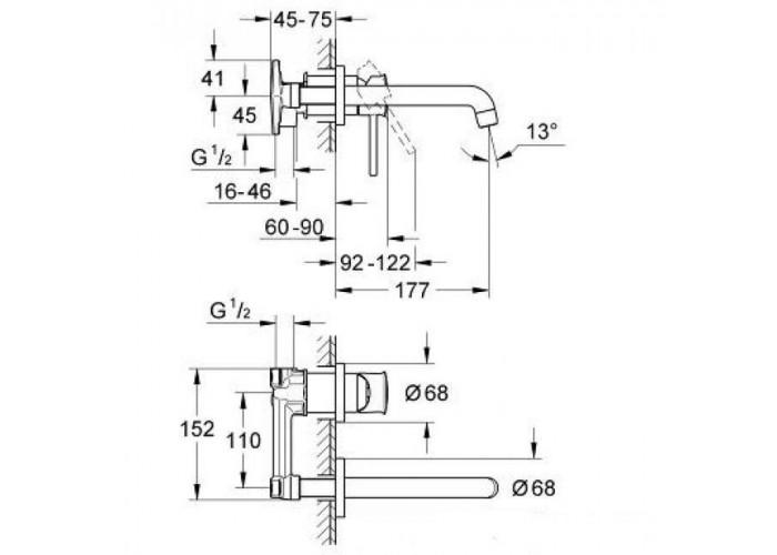 Grohe BauClassic Смеситель для раковины, скрытого монтажа (20292000)