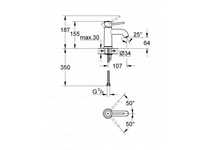 Grohe BauClassic Смеситель для раковины S-size (23162000)