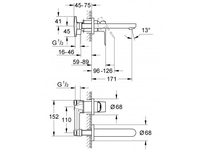 Grohe Bau Loop смеситель для умывальника на 2 отверстия, настенный монтаж (20289000)