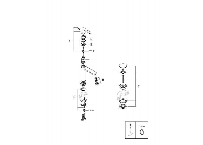Grohe Lineare Смеситель однорычажный для раковины S-Size (23106001)