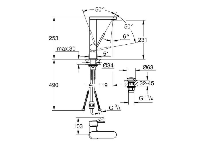 Grohe Plus Смеситель однорычажный для раковины, L-Size (23844003)