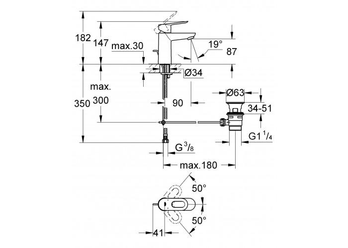 Grohe BauLoop Смеситель однорычажный для раковины S-Size (23335000)