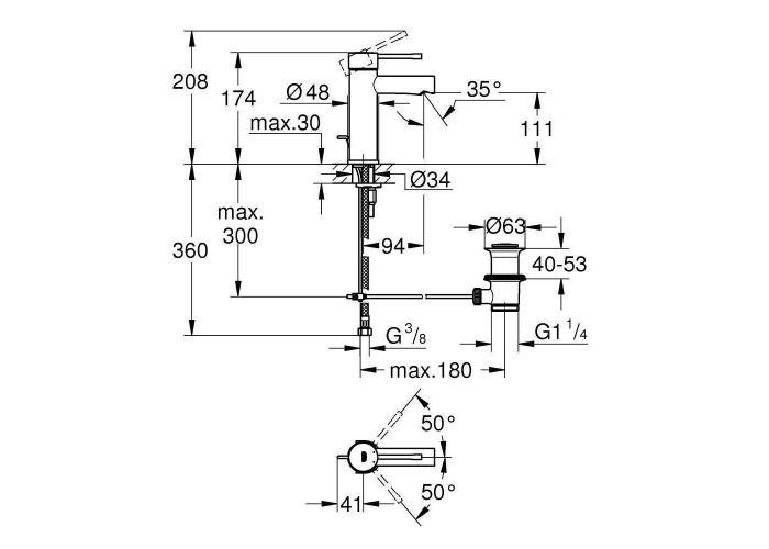 Grohe Essence Смеситель однорычажный для раковины S-Size (32898001)