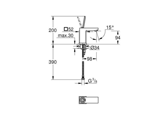 Grohe Eurocube Joy Смеситель однорычажный для раковины S-Size (23656000)