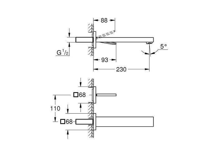 Grohe Eurocube Joy Смеситель для раковины на два отверстия L-Size (19998000)