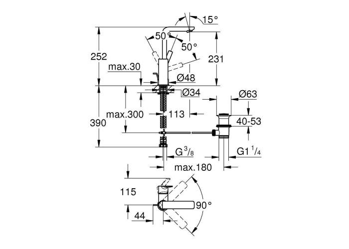 Grohe Lineare Смеситель однорычажный для раковины L-Size (23296001)
