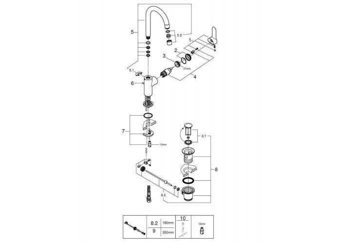 Grohe BauEdge Смеситель однорычажный для раковины L-Size (23760000)