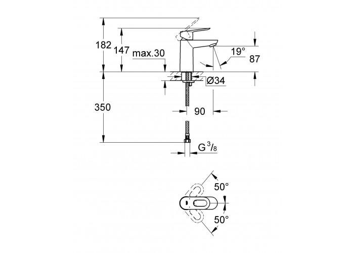 Grohe BauLoop Смеситель однорычажный для раковины S-Size (23337000)
