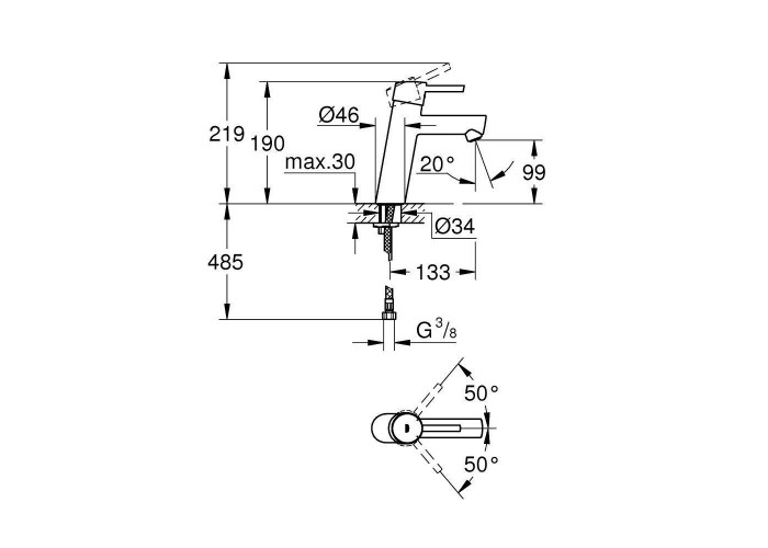 Grohe Concetto Смеситель однорычажный для раковины M-Size (23451001)