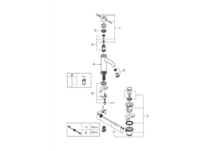 Grohe Essence Смеситель однорычажный для раковины S-Size (23589001)