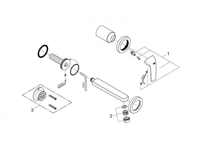 Grohe BauCurve Смеситель для раковины на два отверстия S-Size (20288000)