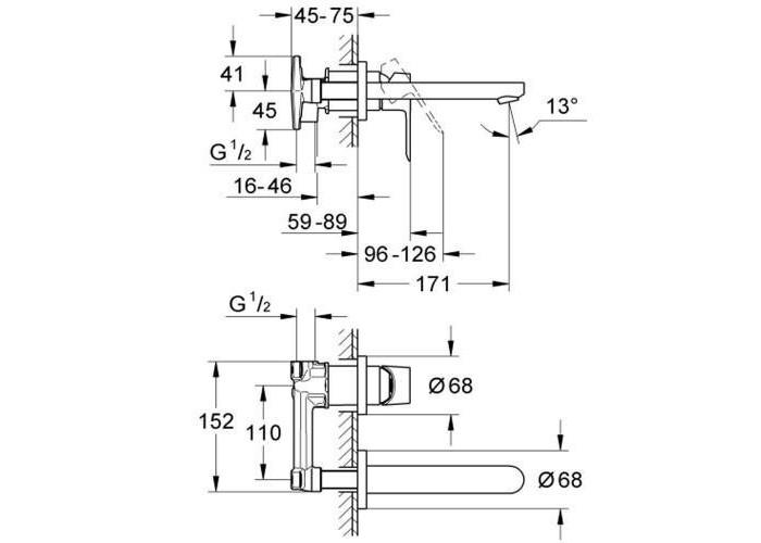 Grohe BauEdge Смеситель для раковины на два отверстия (20474000)