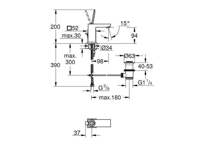 Grohe Eurocube Joy Смеситель однорычажный для раковины S-Size (23654000)