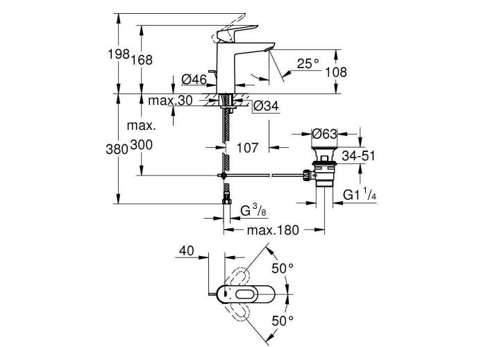 Grohe BauLoop Смеситель однорычажный для раковины M-Size (23762000)