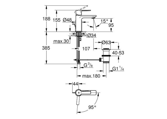 Grohe Lineare Однорычажный смеситель для раковины XS-Size (23790001)