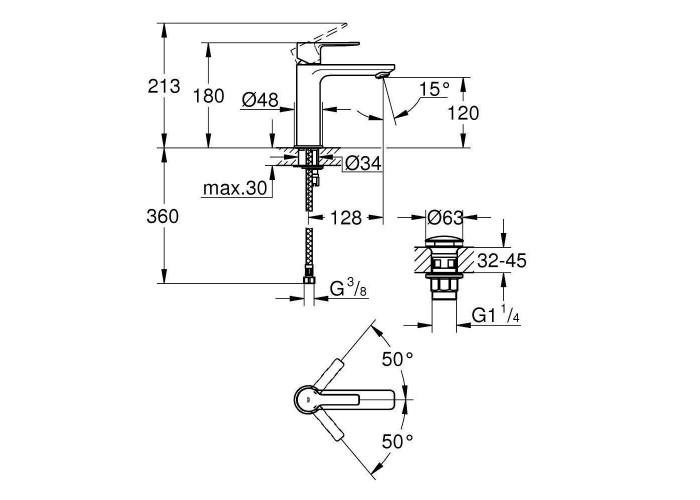 Grohe Lineare Смеситель однорычажный для раковины S-Size (23106DC1)