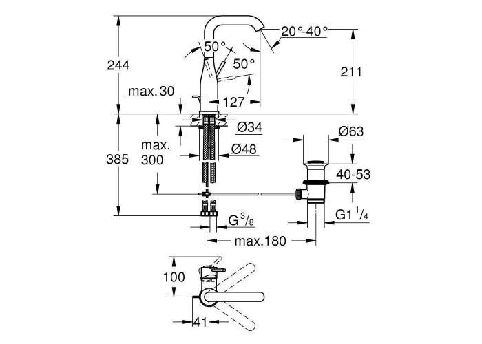 Grohe Essence Смеситель однорычажный для раковины L-Size (32628001)