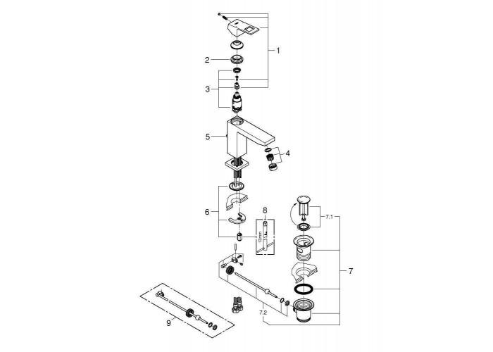 Grohe Eurocube Смеситель однорычажный для раковины M-Size (23445000)