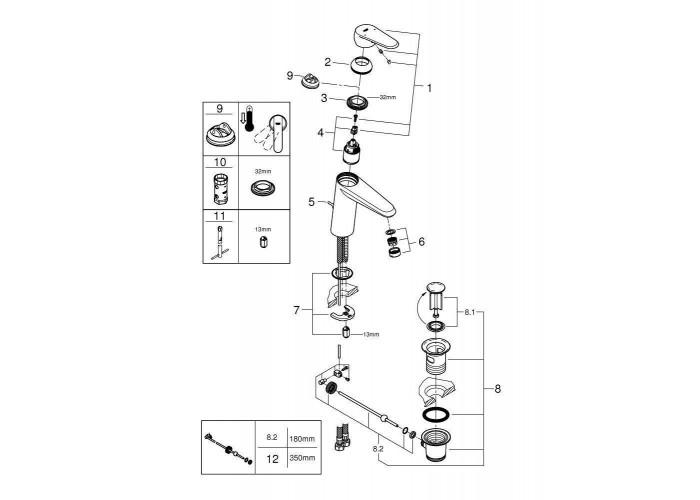 Grohe Eurodisc Cosmopolitan Смеситель однорычажный для раковины M-Size (23448002)