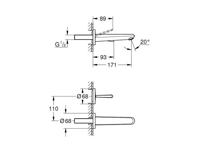 Grohe Eurodisc Joy Смеситель для раковины на два отверстия M-Size (19968LS0)