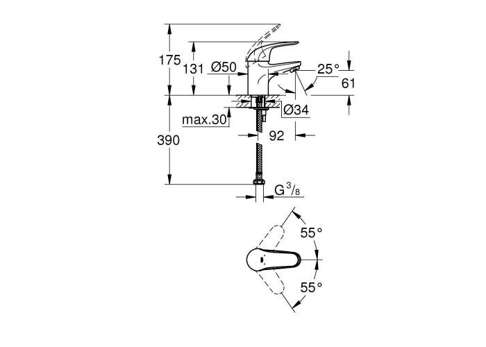 Grohe Euroeco Смеситель однорычажный для раковины S-Size (32734000)