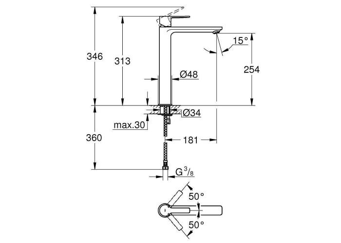 Grohe Lineare Смеситель однорычажный для раковины XL-Size (23405001)